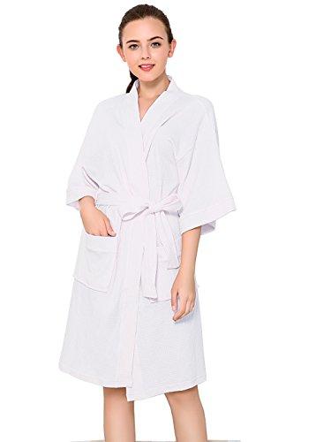 Damen Bademantel aus Baumwolle Sommer Leicht Waffel Weave Nachtwäsche V Kragen Morgenmantel Kimono Nachtrobe für Spa Hotel Unterkunft