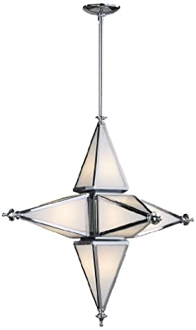 Cyan Design 04108 Star Collection 6-Light Pendant, Chrome Finish with White Glass by Cyan Design