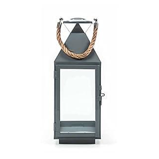 ArtiCasa Metalllaterne, Glaseinsätze, Metallboden, Tür mit Verschluss, Seil-Griff, Design maritim, Größeca. 55/41/24 cm, lieferbar in den Farben Schwarz, Weiß oder Grau (Höhe 41 cm, Grau)