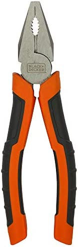 Black+Decker 180mm Bi-Material Steel Combination Pliers with Rubber Grip for Gripping, Twisting, Bending &