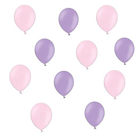 50 x Luftballons je 25 Lavendel / Flieder & Rosa - ca. Ø 28cm - 50 Stück - Ballons als Deko, Party, Fest, Geburt, Hochzeit, Geburtstag, Junge, Mädchen- Farbe Lavendel / Flieder & Rosa - für Helium geeignet -