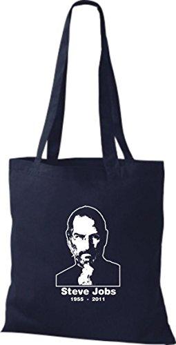 ShirtInStyle Stoffbeutel Steve Jobs in Memory of Baumwolltasche Beutel, diverse Farbe french navy