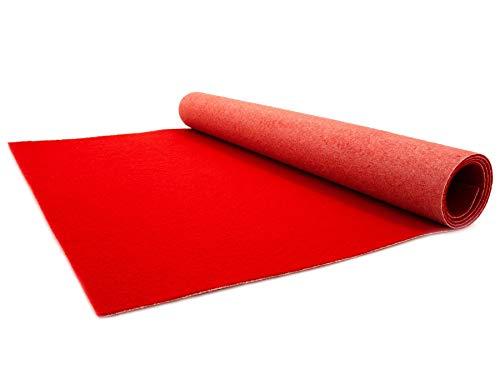 Primaflor - Ideen in Textil Roter Teppichläufer 1m x 3m - Hochzeitsläufer Hochzeitsteppich Gangläufer - Schwer Entflammbarer Messeteppich - VIP Eventteppich - 2,6mm Höhe