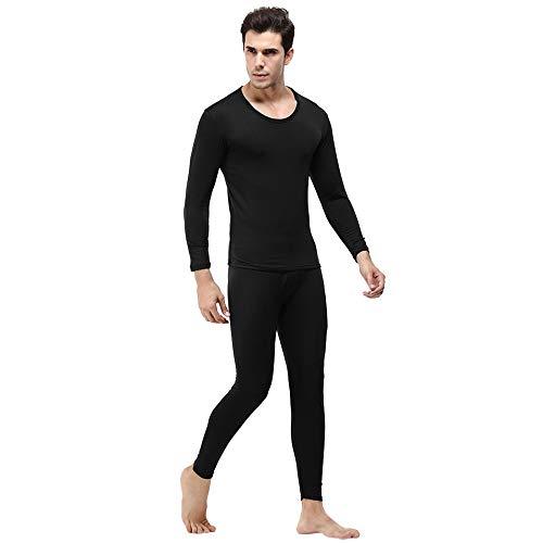 TIFIY Herren Thermo-Unterwäsche Anzug Winter Warm Rundkragen Set Skinny Hose Jogginganzügesportanzug Basic Set(Schwarz,L)