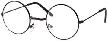 Fancydresswale Kids Non-Prescription Glasses Round Circle Frame Clear Lens Costume (Age 3-10) (Black)