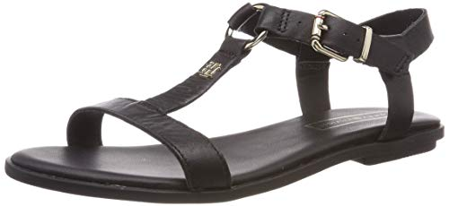- Plattform Sandal (Tommy Hilfiger Damen Elevated Leather Flat Sandal Zehentrenner, Schwarz (Black 990), 37 EU)