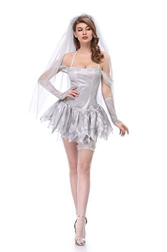 Halloween-Kostüm Schleier Ghost Bride Trockene Leiche Erwachsene Fantasie Kleid Beängstigende Kostüm-Set Cosplay Kostüm,M (Fantasy Bride Sexy Kostüm)