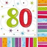 Amscan Geburtstags-Servietten 80 Jahre, 16 Stück