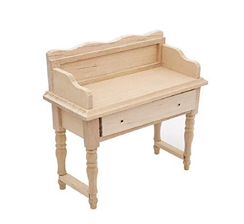 Koojawind Miniatur Puppenhaus Spielzeug Spielset Holz PuppenmöBel Set - 1:12 Puppenhaus Holz Schreibtisch Tisch - Puppenhaus ZubehöR Modell Set - Pretend Play Toy -