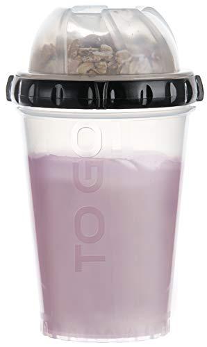 FACKELMANN Müsli-to-go-Becher, Joghurtbecher mit verschließbaren Zusatzbehälter, Reisebecher für gesunde Snacks (Farbe: Transparent/Schwarz), Menge: 1 Stück