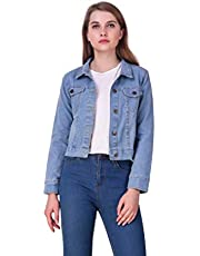 MONTREZ Denim Full Sleeves Comfort Fit Regular Collar Blue Jacket for Women