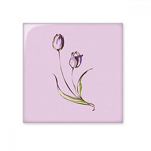 Lila Flower Plant Tulip Greenery glänzend Keramik Fliesen Badezimmer Küche Wand Stein Dekoration Craft Geschenk Medium