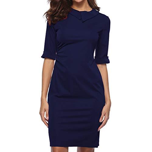 OVERDOSE Frauen Retro Bodycon Formale Büro OL Kleid Bleistift Kleid Zipper Damen Revers Business-Kleid Office Mini ()