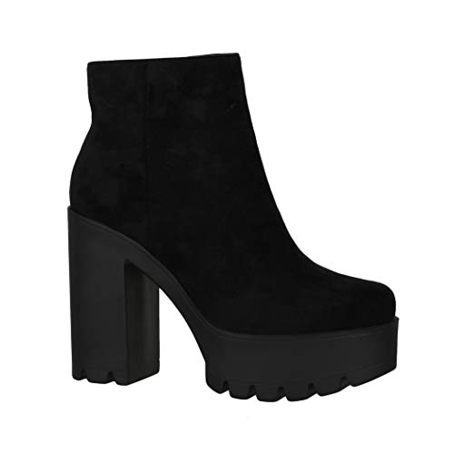 Elara Botines de Mujer Chelsea Boots Chunkyrayan HQ115 Black-37