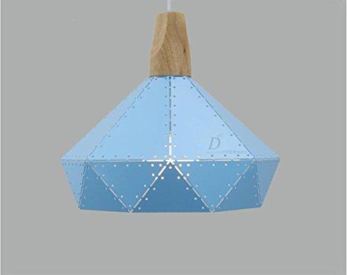 Suspensions Post-moderne minimaliste nordique solide bois pendentif lampe créative loft salle à manger étude couloir balcon lustre Macaron couleur fer pendentif éclairage (A), blue