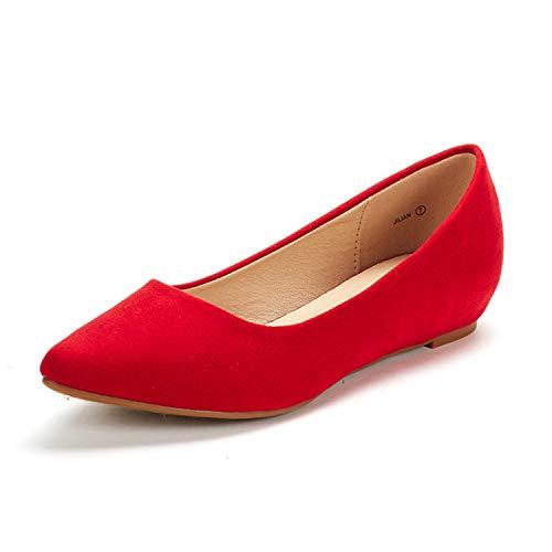 Dream Pairs Jilian Zapatos Planos Bailarina con Punta Cerrada para Mujer Rojo Ante 40 EU/9 US