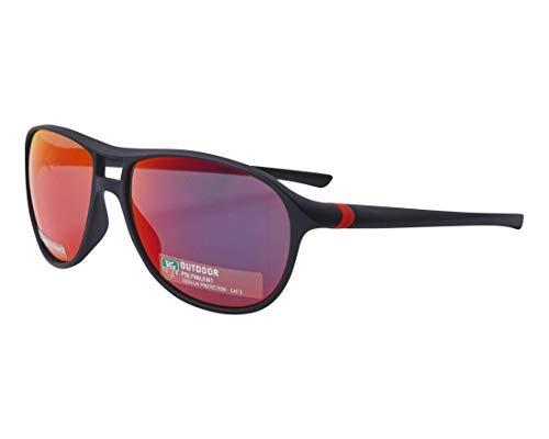 TAG Heuer Sonnenbrillen (TH-6043 113) matt schwarz - brau-grün mit petrol verspiegelt effekt