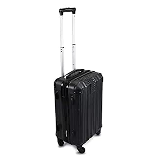 Todeco – Carry On Suitcase, Cabin Luggage, Tamaño (Ruedas Incluidas): 56 x 38 x 22 cm, 4 Ruedas de rotación de 360 °, Llevar-en 51 cm, Negro, ABS, Protected Corners, Double Layer Zipper