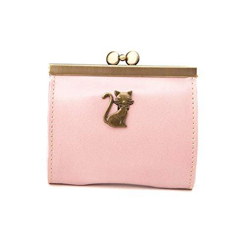Vektenxi Geldbörse Frauen Lady Retro Clutch Bag Vintage Kitty Leder Hasp Geldbörse kleine Brieftasche langlebig und nützlich -