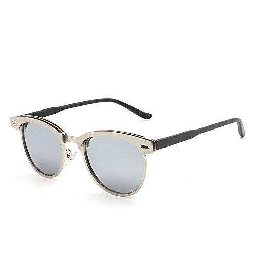 RFVBNM Männer Klassische Sonnenbrille-Stil Halb-Rahmen Metall polarisierte Sonnenbrille Outdoor-Mode Persönlichkeit UV-Sonnenbrille, Silberrahmen White Mercury Lens