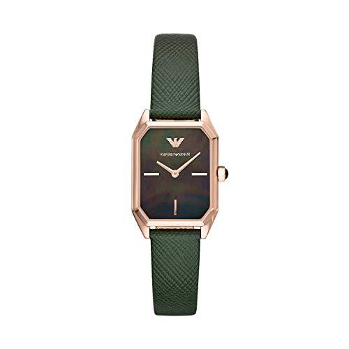 Emporio Armani Damen Analog Quarz Uhr mit Leder Armband AR11149