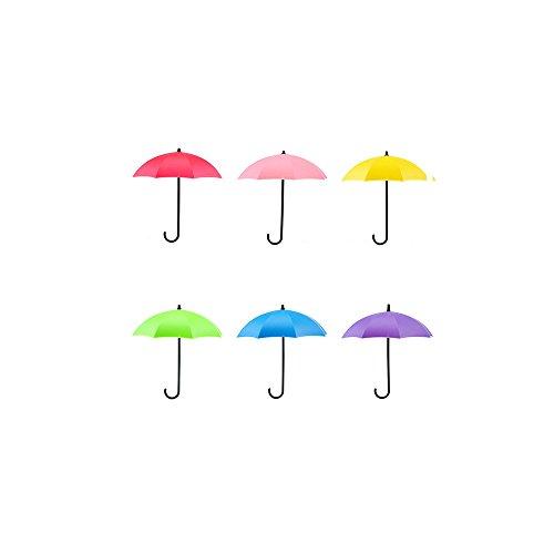 6 Stück Bunte Regenschirm-Wandhaken Schlüssel Haarnadel Halter Organizer Deko Modern 11.8cm x 7cm x 12cm Multi