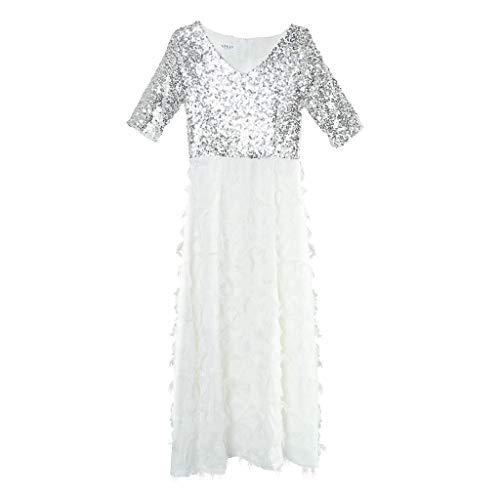 Kostüm Kleid Tanz Weißen - Backbayia Tanzkleid, lang, orientalisches Kleid für Kostüm, Abendkleid, lateinischer Tanz, weiß, 1