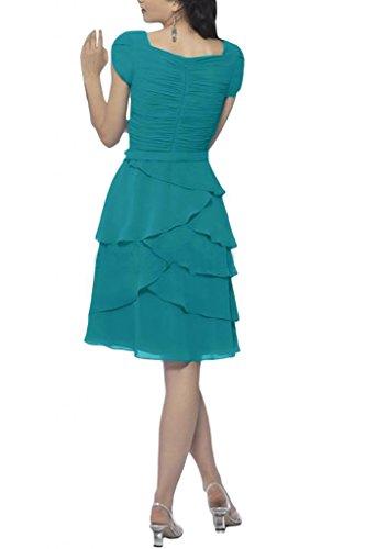Gorgeous Bride Modisch Kurz V-Ausschnitt Kurz Aermel A-Linie Chiffon Blume Abendkleid Festkleid Ballkleid Grün