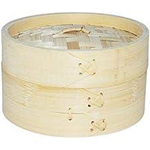 Vaporera de bambú para cocinar al vapor, cocedor 1 nivel con tapa, cesta de