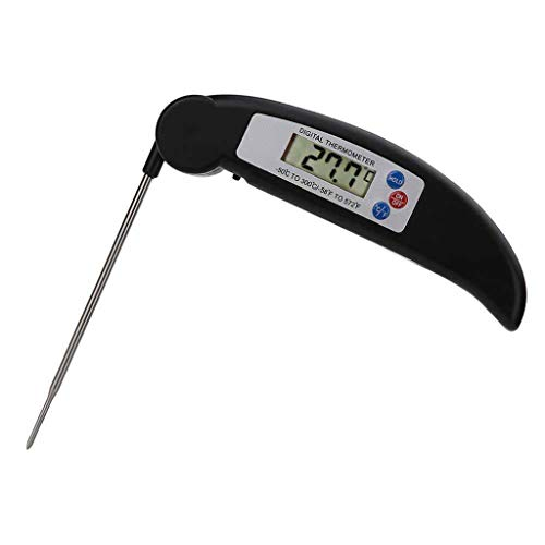 Hengzi Digital Instant Read Thermometer Lebensmittelklappsonde für Grillküche, die Fleisch kocht (Schwarz)