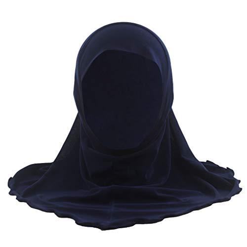HHyyq Das Einfache Hijab Der Moslemischen Kinder Kein Dekorationbabyhut Neugeborener Weicher Baumwollturbankindhaarband-Babystirnband(Marine)