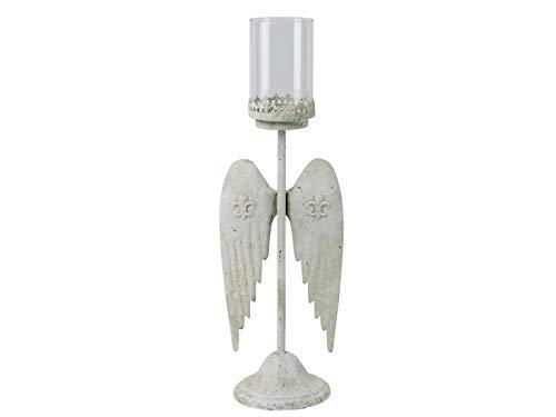 meindekoartikel Kerzenständer mit Flügel und Glasaufsatz - Creme Ø16xB20xH62cm
