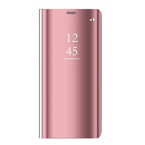 Tianyan Funda para Xiaomi Mi A1,Espejo Clear View Flip Cover Carcasa Plegable Soporte,Funda para Xiaomi Mi A1/Xiaomi Mi 5X,Rosa