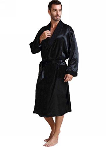 Herren Seide Bademantel Schlafanzug Schwarz X-Large
