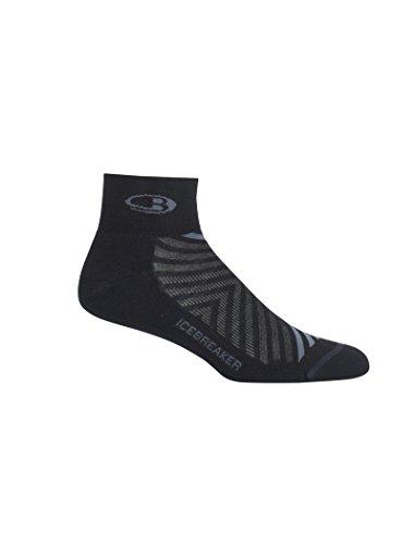 Icebreaker Herren Run+ Light Mini Socken, Black/Monsoon, M