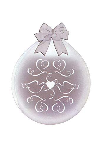DeCoArt... SET PREIS 2 Geschenkeballons Stufferballons Hochzeit Tauben Herzen 45 cm naturell ohne Schleife ungefüllt und 10 kleine Latexballons ca 13 cm perl farbig sortiert