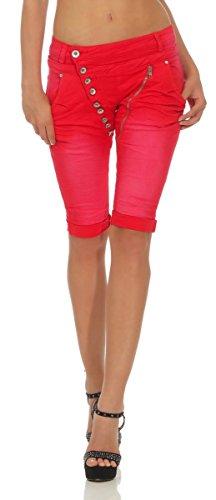 11509 Mozzaar Damen Jeans Bermuda Hose Boyfriend Denim Shorts Slimline Knopfleiste Zipper Slim-Fit (Rot, L-40)