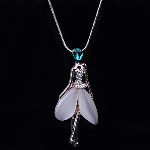 YANOAID Engel Fee Halskette Opal Anhänger Figur Katzenauge Kristall Zink Legierung Mädchen Frauen Modeschmuck Zubehör