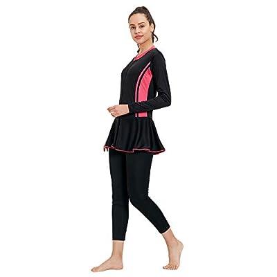 LIMEE Womens Bodysuit Full Sleeves Swimsuit (Black & Pink)