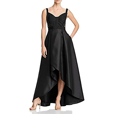 Adrianna Papell Womens Black Sleeveless V Neck Below The Knee Hi-Lo Evening Dress Size: 8