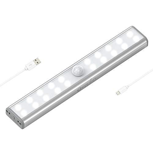 OxyLED T02U - Barra di sicurezza per interni, ricaricabile tramite USB, con striscia magnetica, 20 LED con sensore di movimento, per armadi, armadi, scale, bagno, specchio