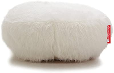LIVING CONCEPT llew mejia o cama de matrimonio y un revestimiento suave zorro blanco de piel sintética puf de puf infantil con diseño de 60 cm x 20 cm