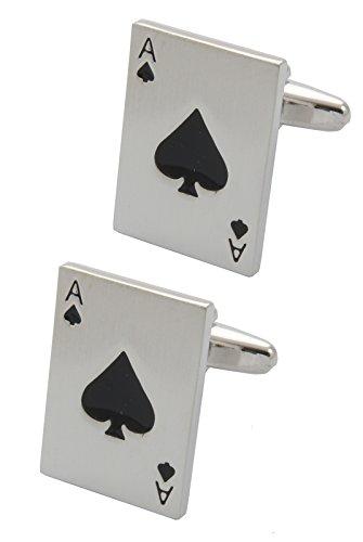 DON - HOCHWERTIGE Manschettenknöpfe mit GESCHENK BOX - Pik-As - Stilvolle Messing - Silber Farbe - Kartenstapel Poker Zocken Magie Ace of Spades Zauberer Spiel (Ideen Für Weihnachten Spielen)
