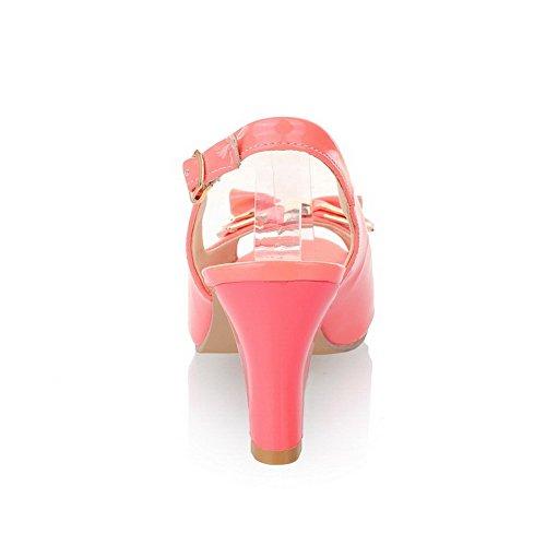 VogueZone009 Donna Pelle Di Maiale Sbirciare Puro Tacco Alto Sandali Rosa