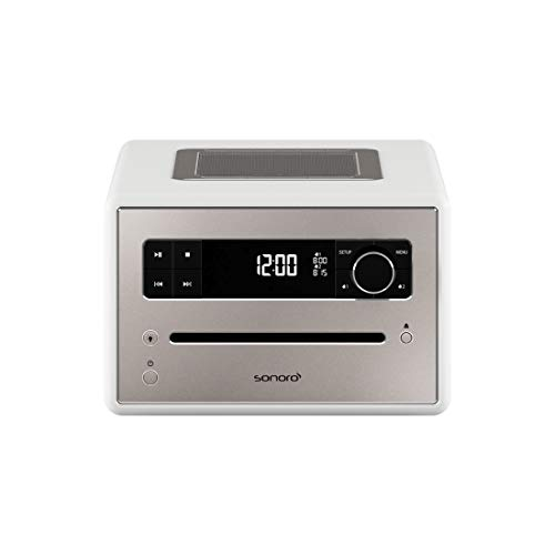 sonoro QUBO CD-Player (UKW/FM/DAB/DAB+, AUX-in, Bluetooth, Meditationsinhalte) Weiß - Design Digitalradio, Radio-Wecker -