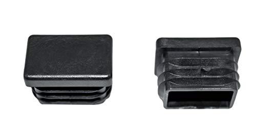 SN-TEC Rohrstopfen/Fußkappe / Pfostenkappe/Lamellenstopfen für Vierkantrohr, Farbe: Schwarz, 30x20mm (10 Stück)