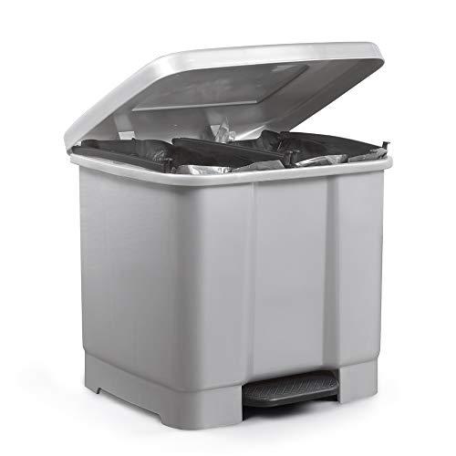 Metaltex Cubo con Pedal, Dos Compartimentos 33 litros, Gris