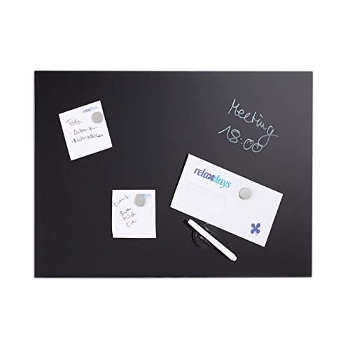 Relaxdays Glas-Magnetboard 100 x 60 cm, beschreibbar, Memoboard, 3 Magneten, Sicherheitsglas, Magnettafel, schwarz