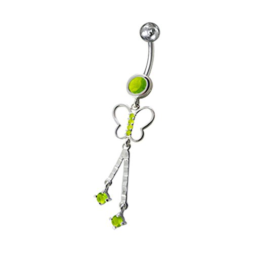Bijou de nombril Papillon pierres fantaisies pendant Argent Sterling 925 avec Banane 14Gx3/8(1.6x10MM) en acier chirurgical 316L et boule 5mm. Light Green