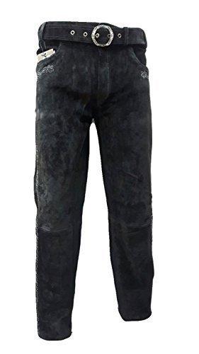 SHAMZEE Trachten Lederhose lang in Schwarz farbe Echt Leder SHAMZEE Trachtenlederhosen Gr. 46-62 (taillenmaß stehen im beschreibung) (56, Schwarz)